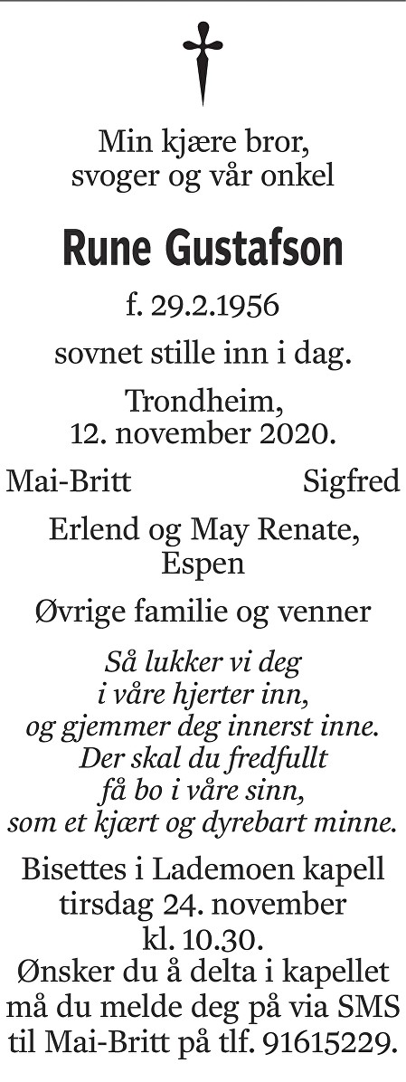 Rune Gustafson Dødsannonse