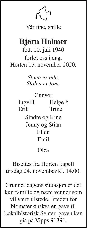 Bjørn John Holmer Dødsannonse