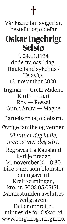 Oskar Ingebrigt Selstø Dødsannonse