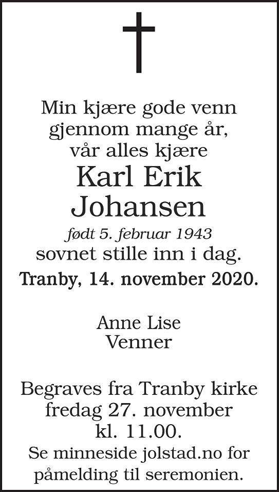 Karl Erik Johansen Dødsannonse