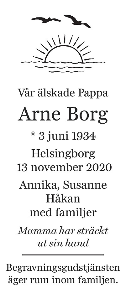 Arne Borg Death notice