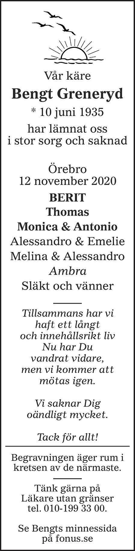Bengt Greneryd Death notice
