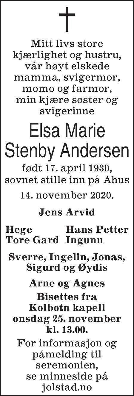 Elsa Marie Stenby Andersen Dødsannonse
