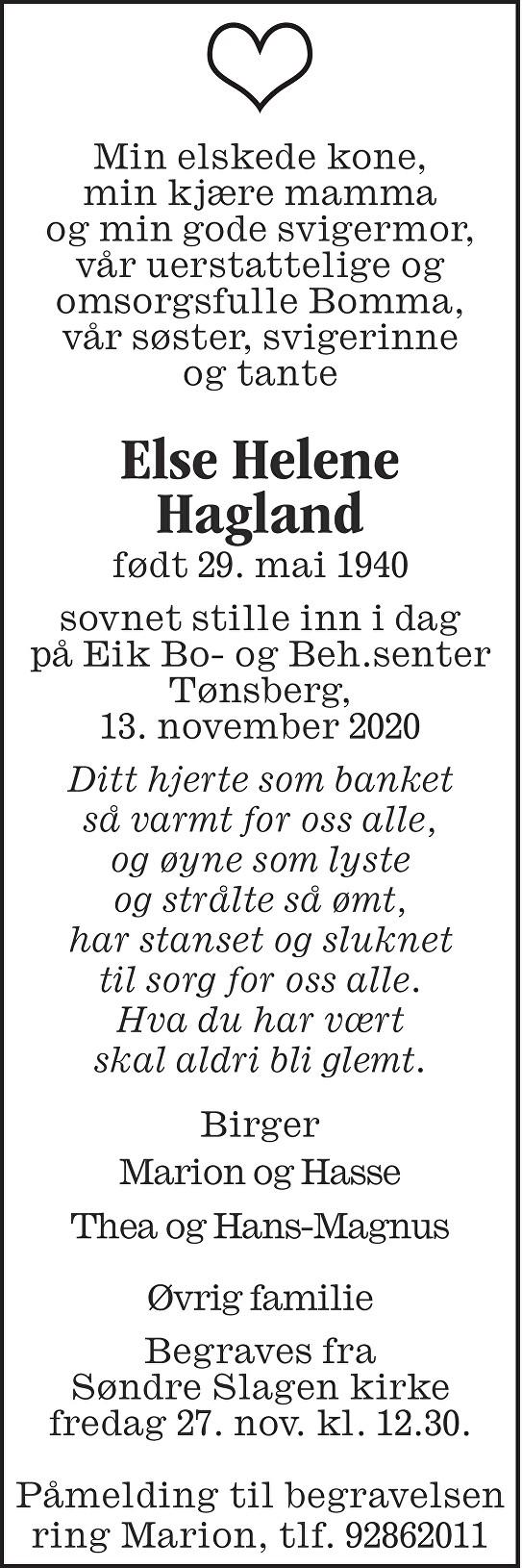 Else Helene Hagland Dødsannonse