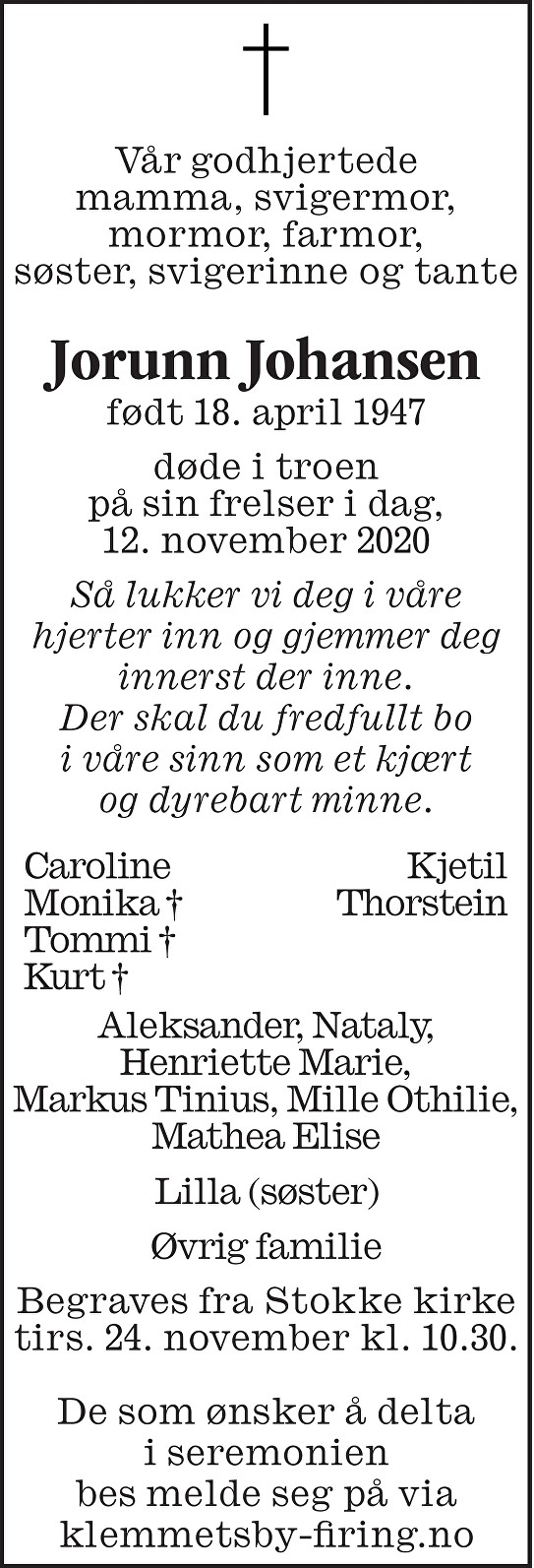 Jorunn Johansen Dødsannonse
