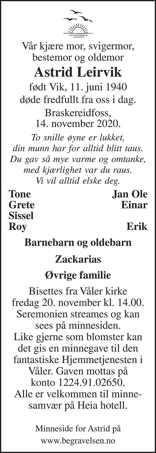 Astrid Leirvik Dødsannonse