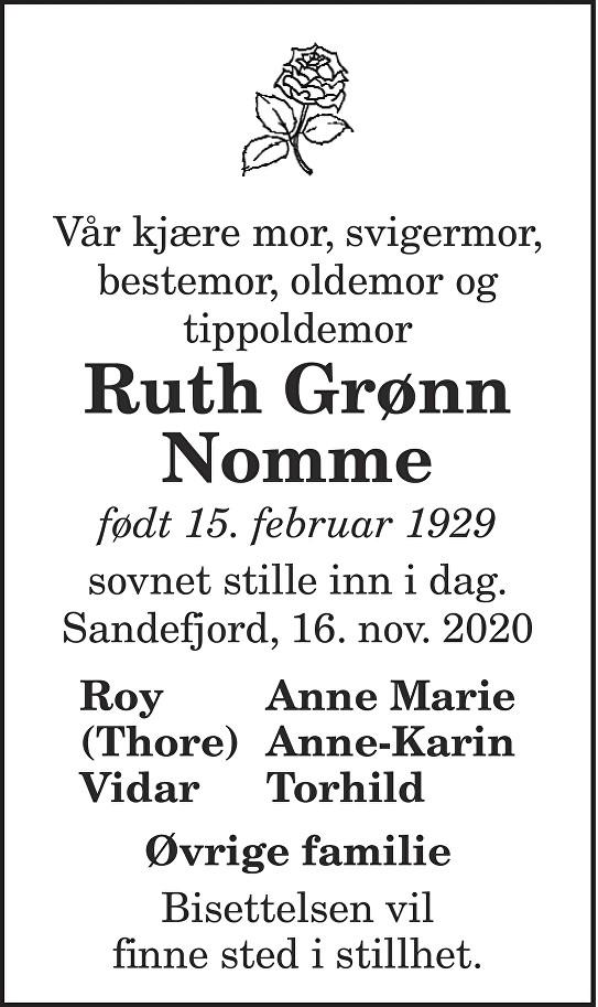Ruth Grønn Nomme Dødsannonse