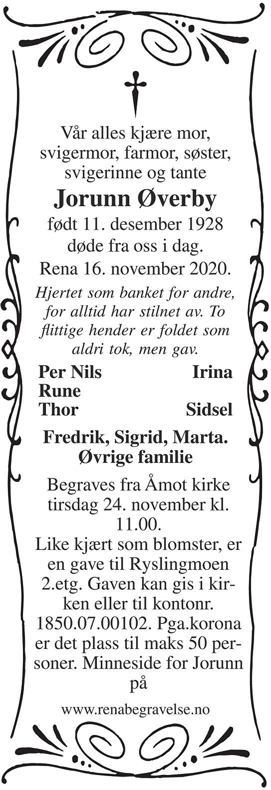 Jorunn Øverby Dødsannonse
