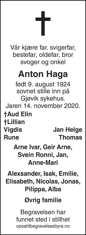 Anton Haga Dødsannonse