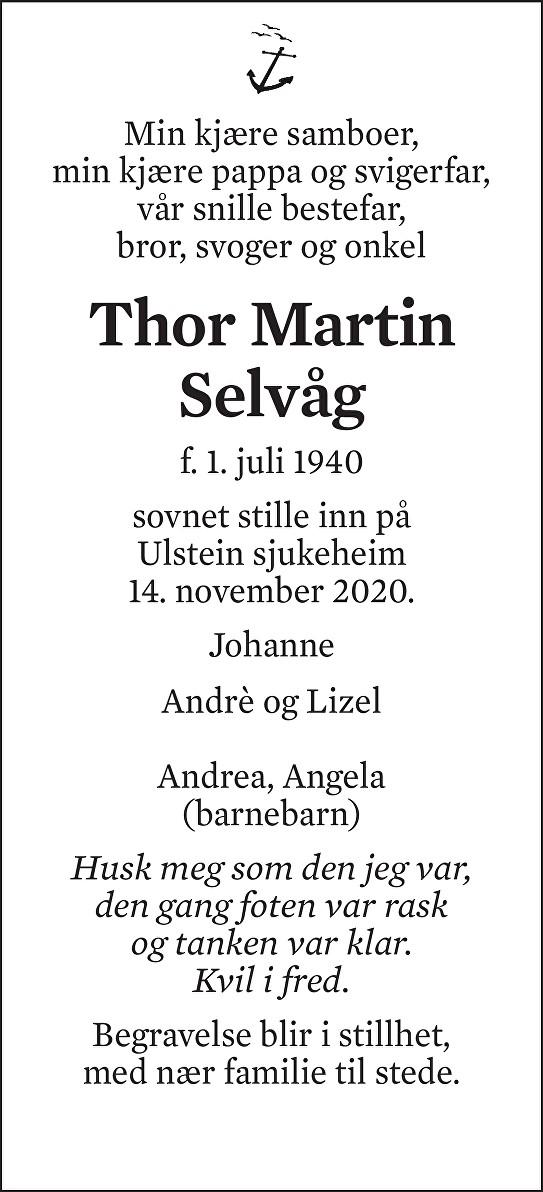 Thor Martin Selvåg Dødsannonse