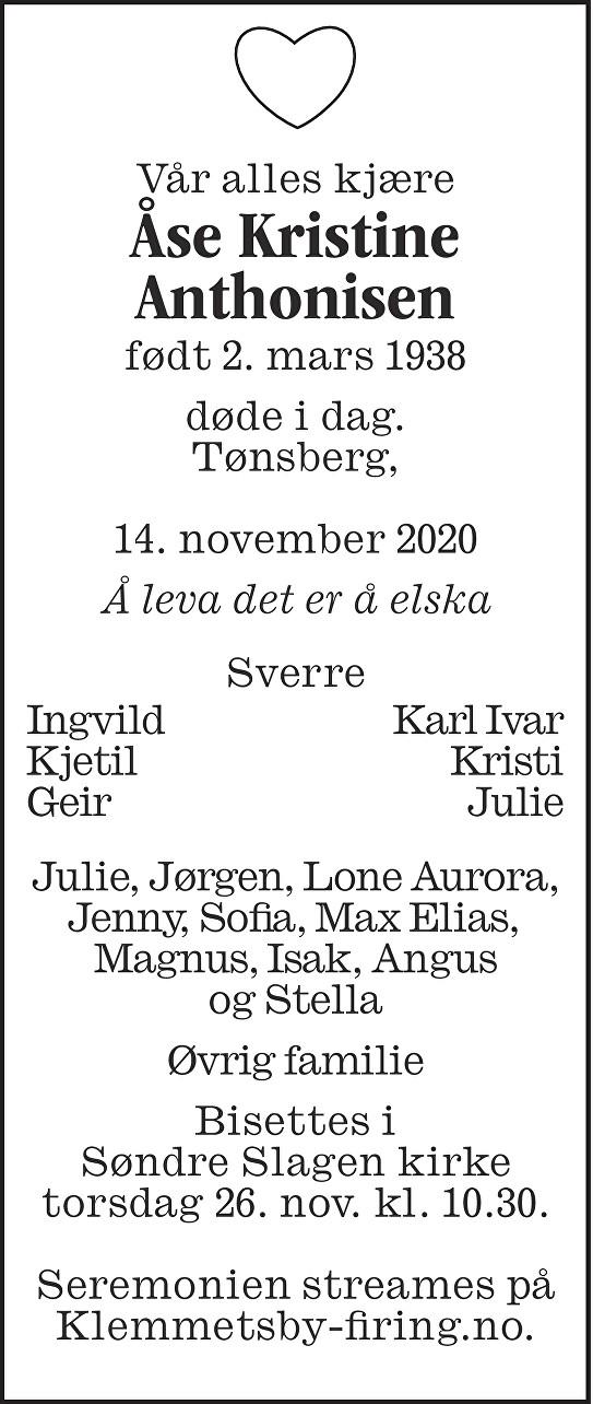 Åse Kristine Anthonisen Dødsannonse