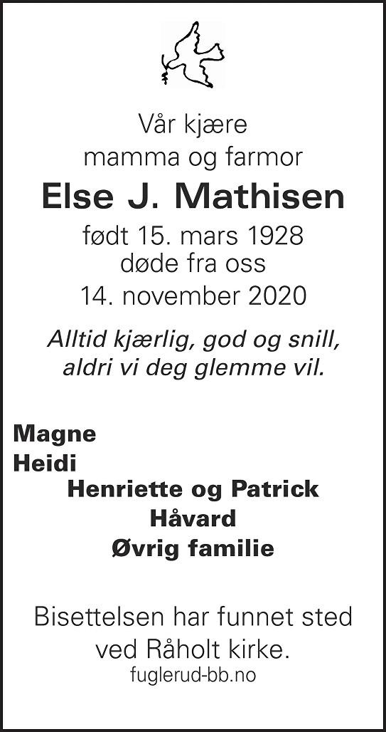 Else Johanne Mathisen Dødsannonse