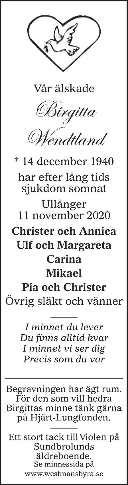 Birgitta Wendtland Death notice