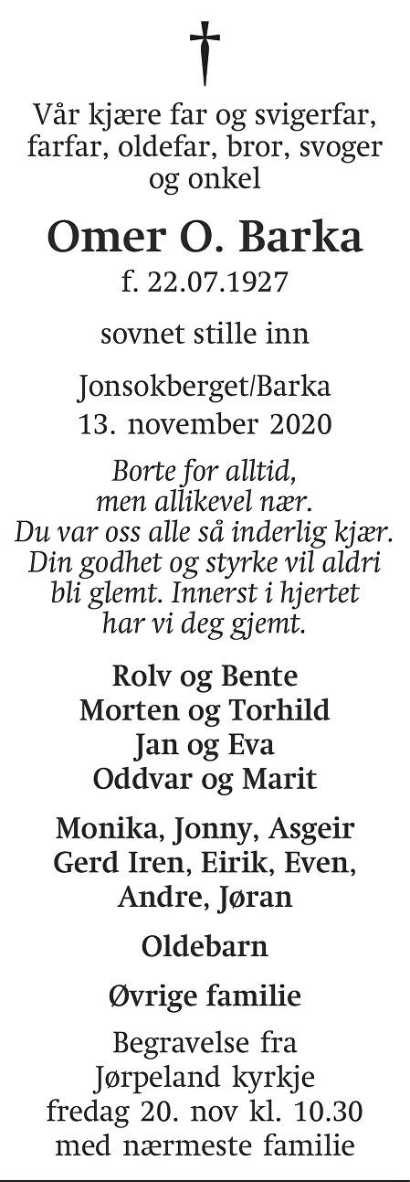 Omer O  Barka Dødsannonse