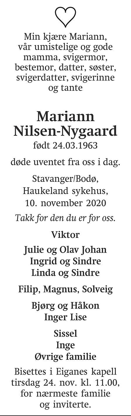 Mariann  Nilsen-Nygaard Dødsannonse