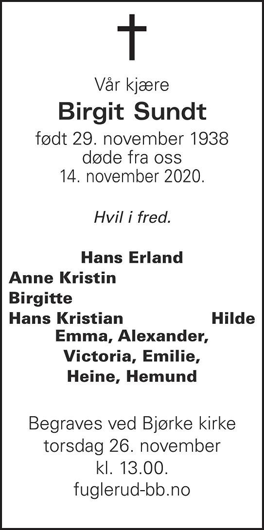 Birgit Sundt Dødsannonse