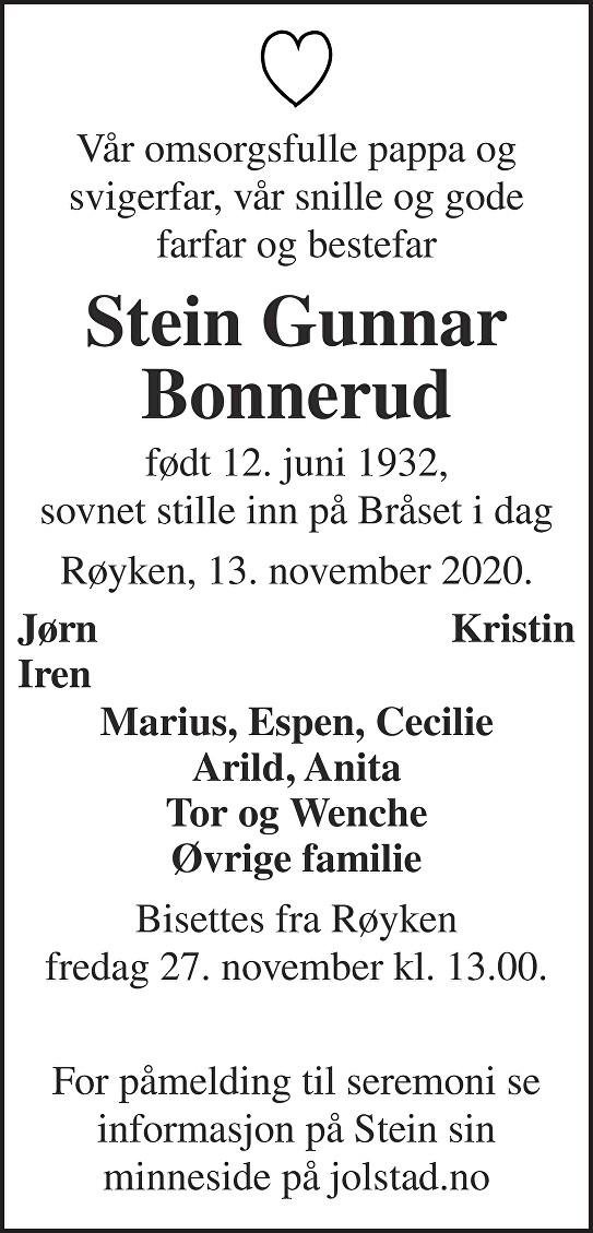 Stein Gunnar Bonnerud Dødsannonse