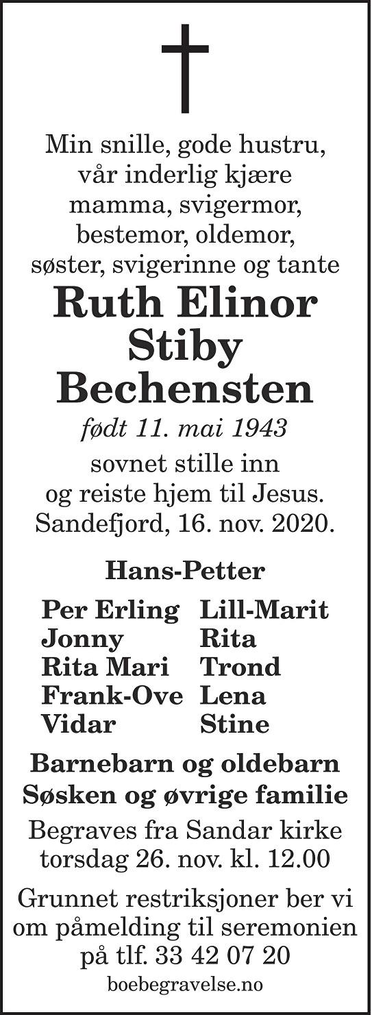 Ruth Elinor Stiby Bechensten Dødsannonse