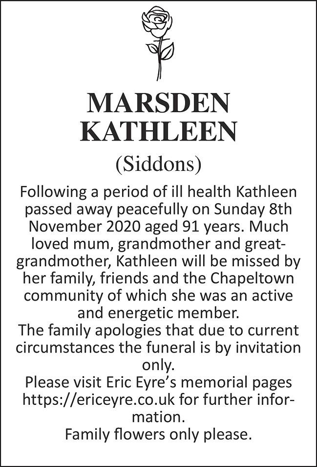 Kathleen Marsden Death notice