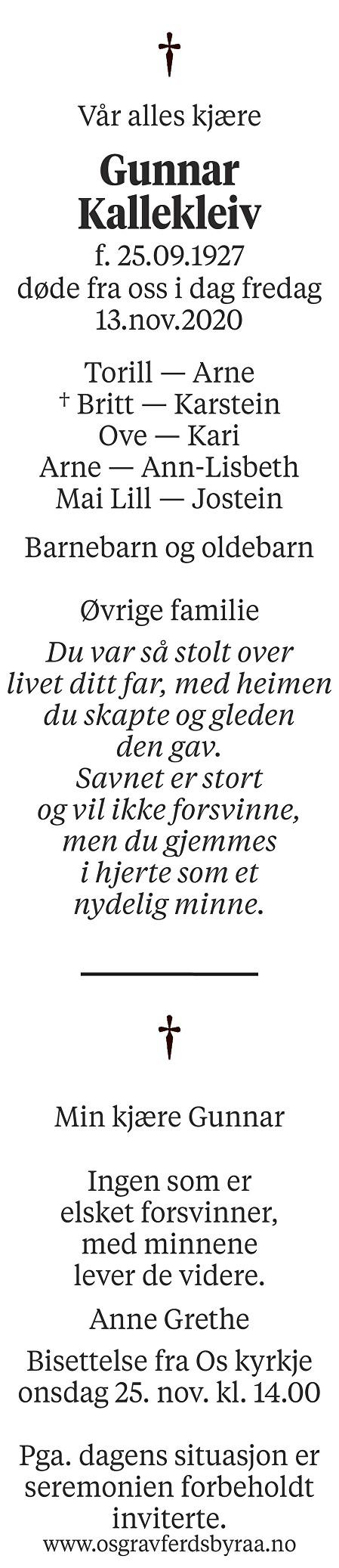 Gunnar Kallekleiv Dødsannonse