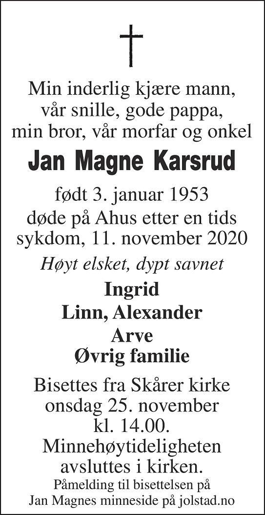 Jan Magne Karsrud Dødsannonse