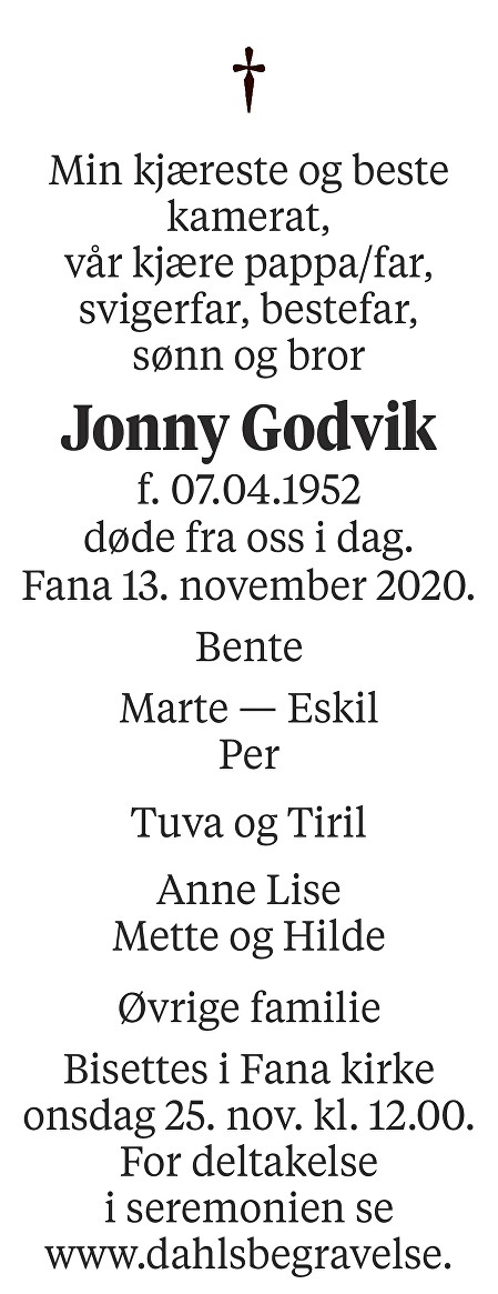 Jonny Godvik Dødsannonse