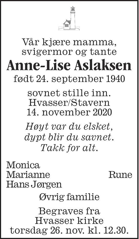 Anne Lise Aslaksen Dødsannonse