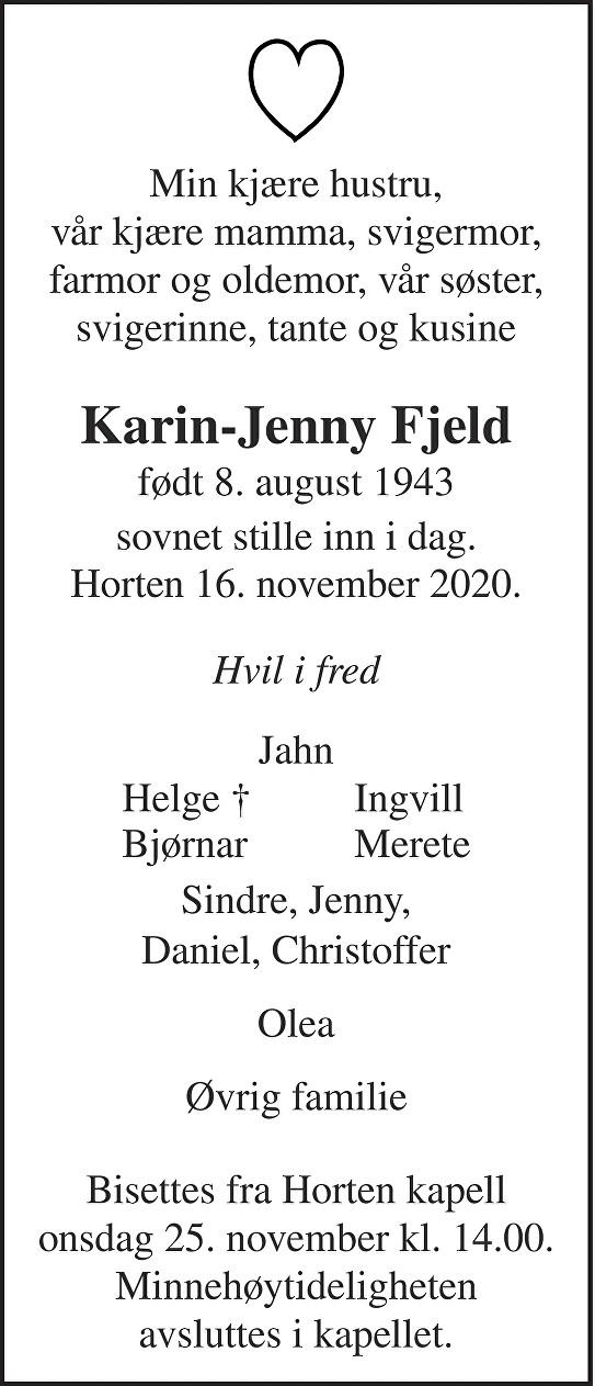 Karin-Jenny Fjeld Dødsannonse