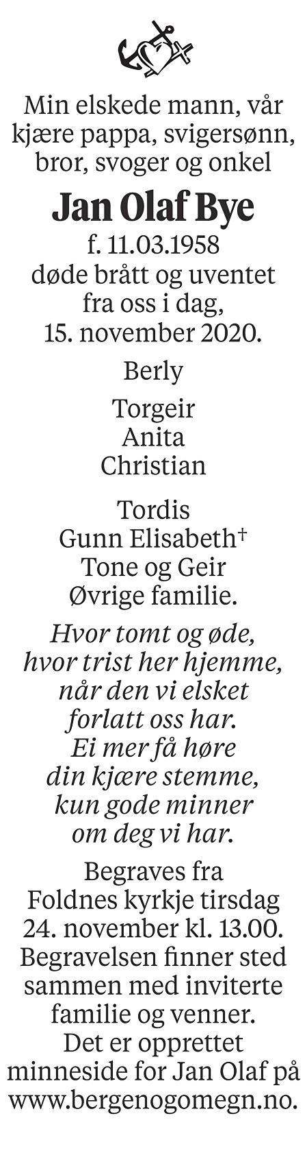 Jan Olaf Bye Dødsannonse