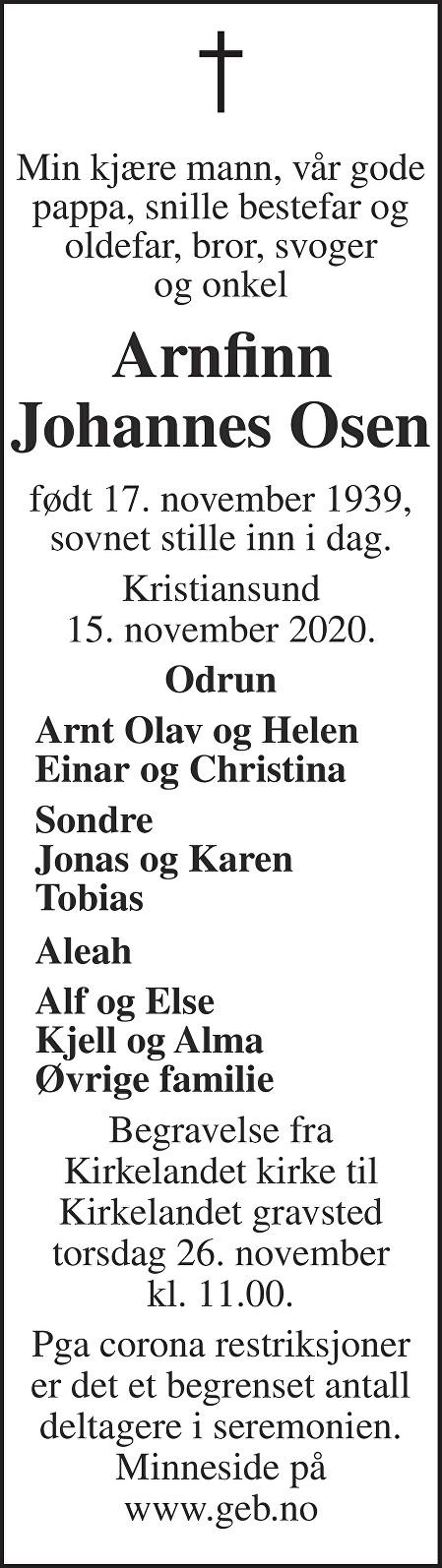 Arnfinn Johannes Osen Dødsannonse