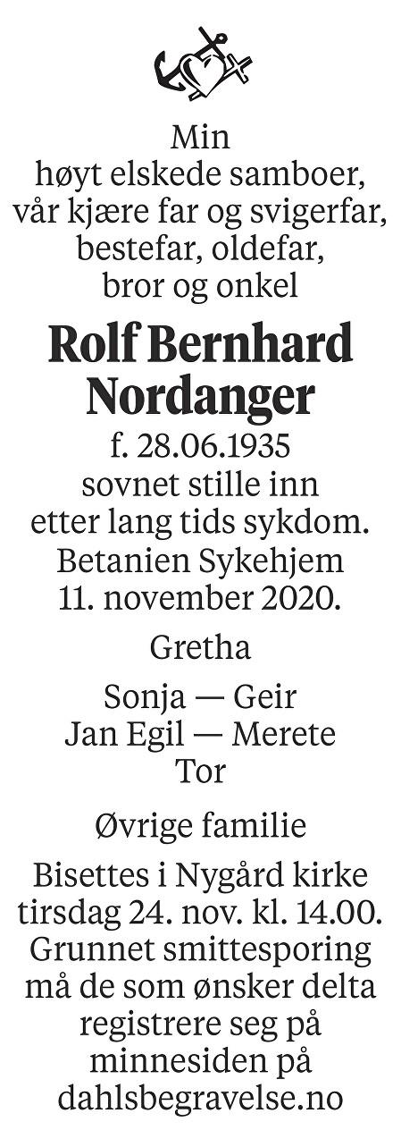Rolf Bernhard Nordanger Dødsannonse