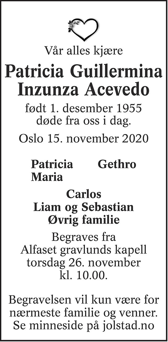 Patricia Guillermina Acevedo Inzunza Dødsannonse