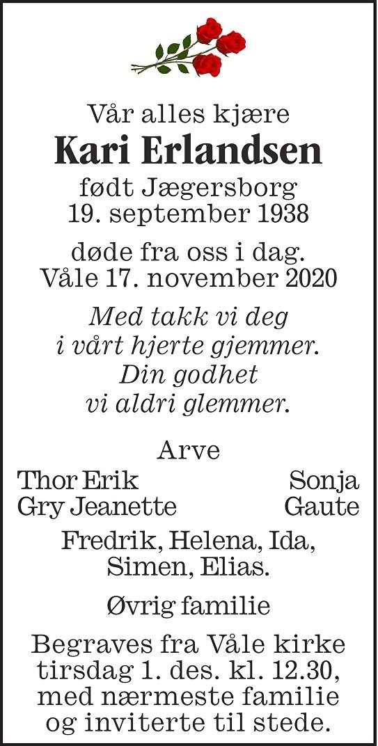 Kari Torbjørg Erlandsen Dødsannonse
