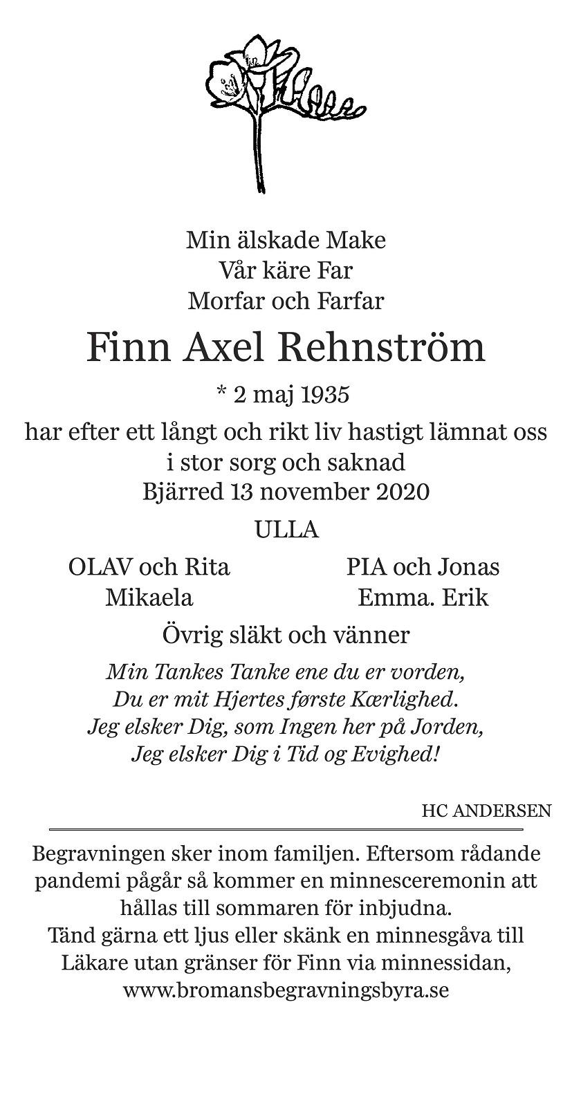 Finn Axel Rehnström Death notice