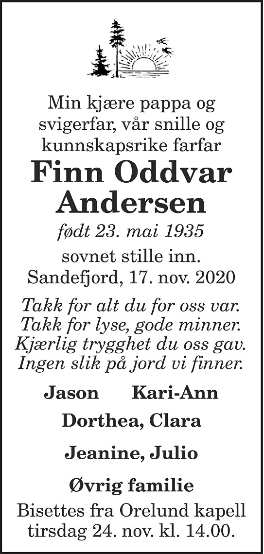 Finn Oddvar Andersen Dødsannonse