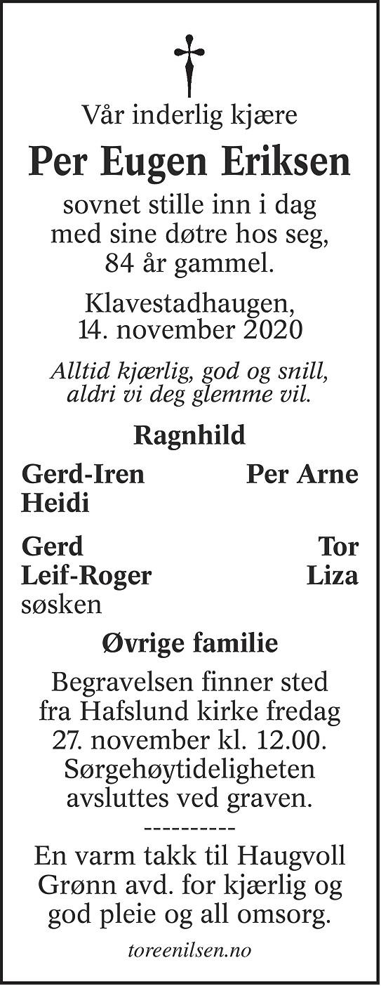 Per Eugen Eriksen Dødsannonse