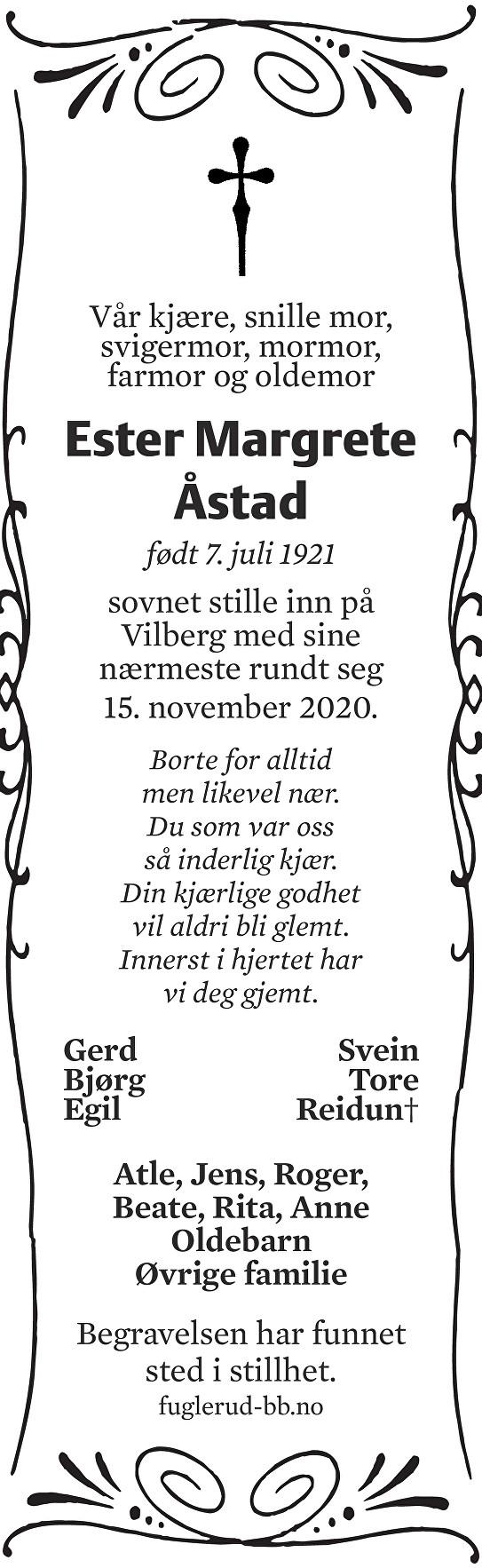 Ester Margrete Åstad Dødsannonse