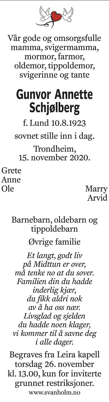 Gunvor Annette Schjølberg Dødsannonse