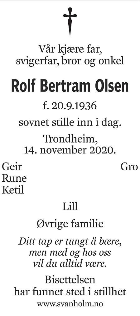 Rolf Bertram Olsen Dødsannonse
