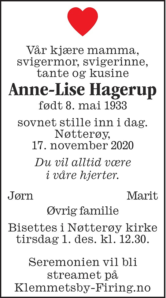 Anne-Lise Hagerup Dødsannonse