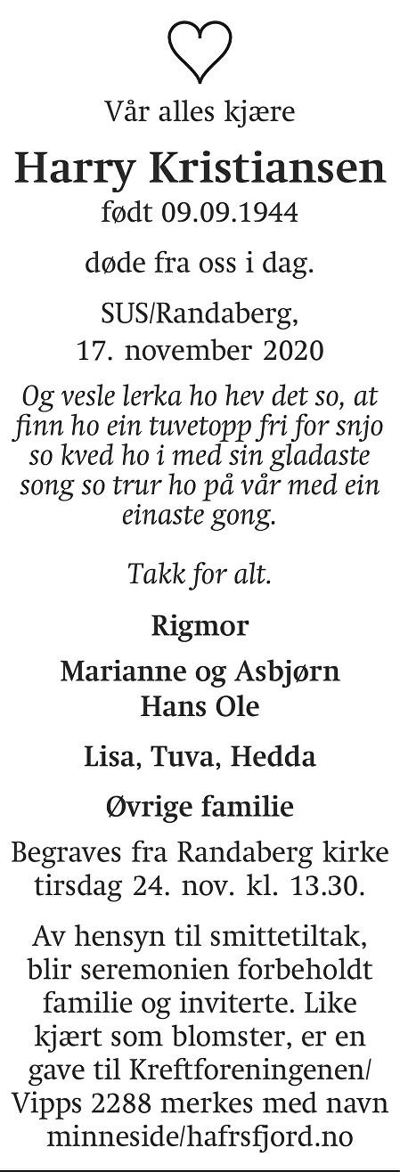 Harry Kristiansen  Dødsannonse