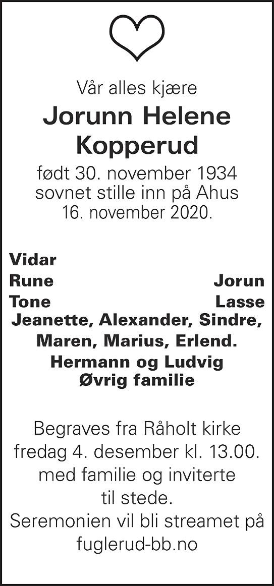 Jorunn Helene Kopperud Dødsannonse