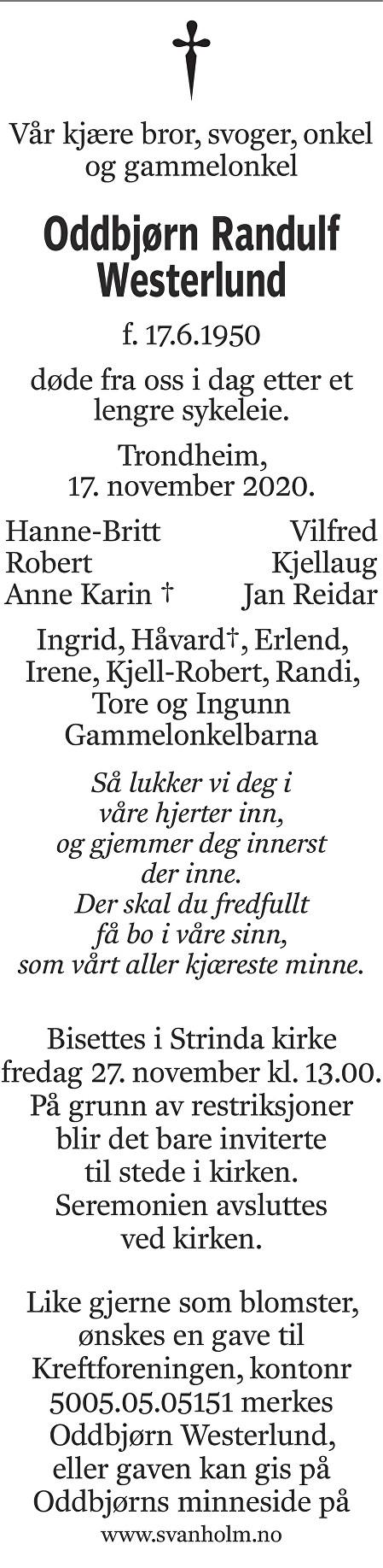 Oddbjørn Randulf Westerlund Dødsannonse