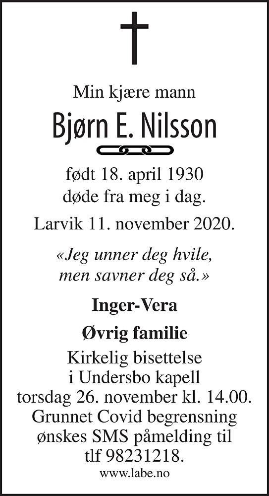 Bjørn Ernfred Nilsson Dødsannonse