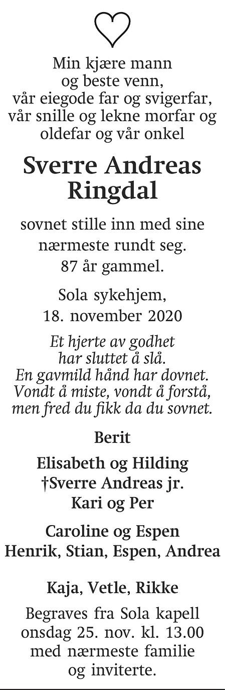 Sverre Andreas Ringdal Dødsannonse