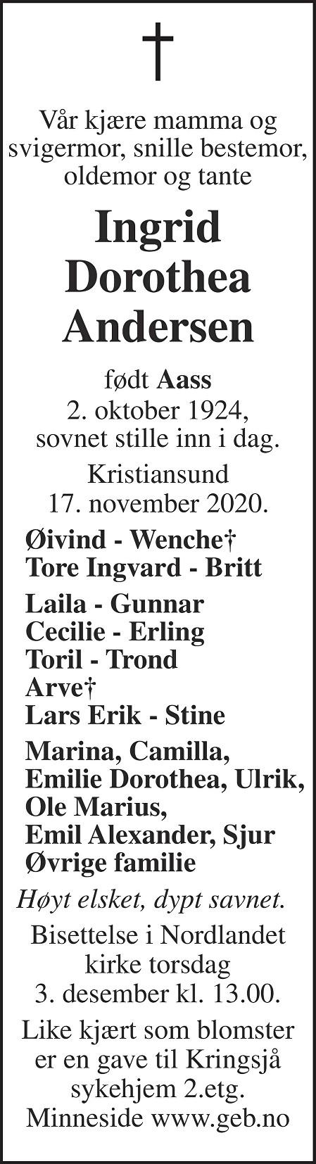 Ingrid Dorothea Andersen Dødsannonse
