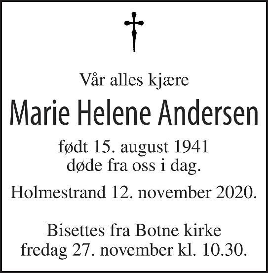 Marie Helene Andersen Dødsannonse