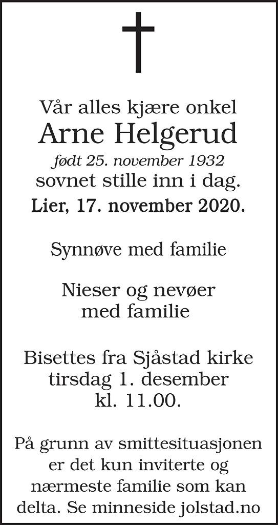 Arne Helgerud Dødsannonse