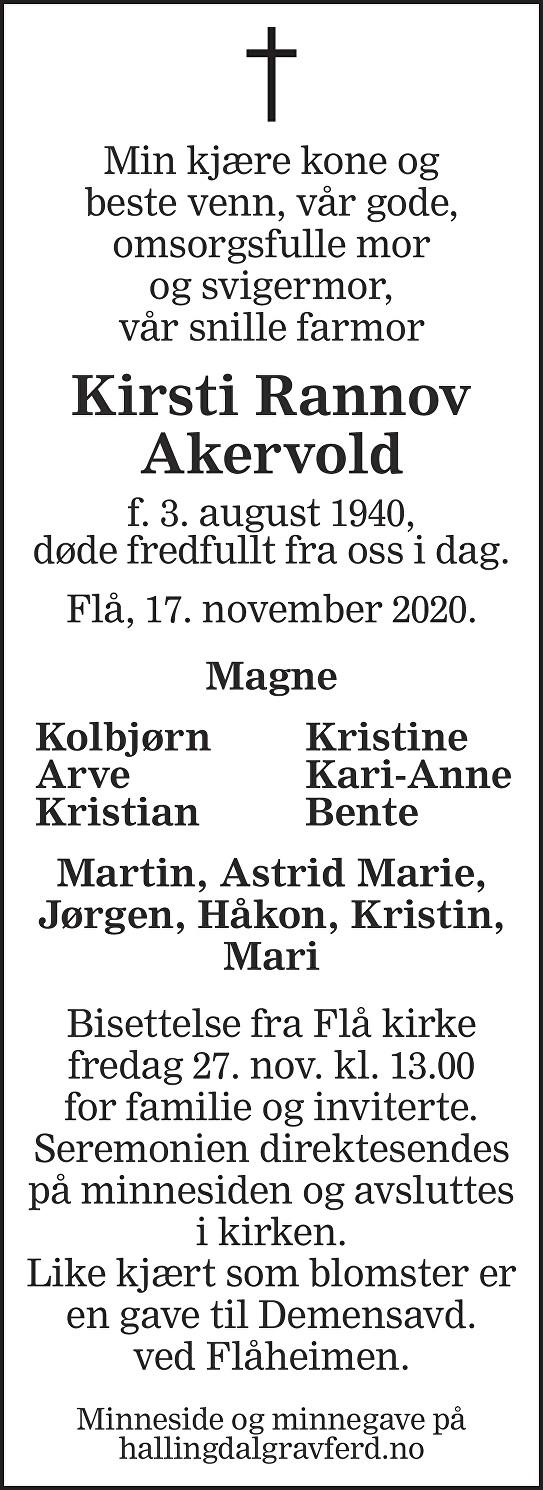Kirsti Rannov Akervold Dødsannonse