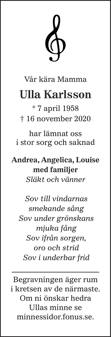 Ulla Karlsson Death notice
